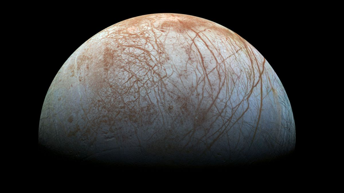 Europa, the mysterious moon of Jupiter. Is there life beneath all that ice? (Credit: NASA)