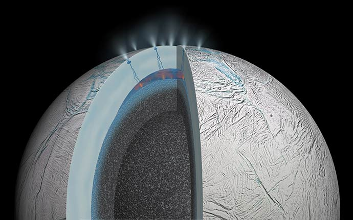 Artist's rendering of possible hydrothermal activity that may be taking place on and under the seafloor of Enceladus. Credit: NASA/JPL
