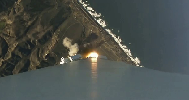 A view from a Falcon 9, from last January 14's launch. SpaceX