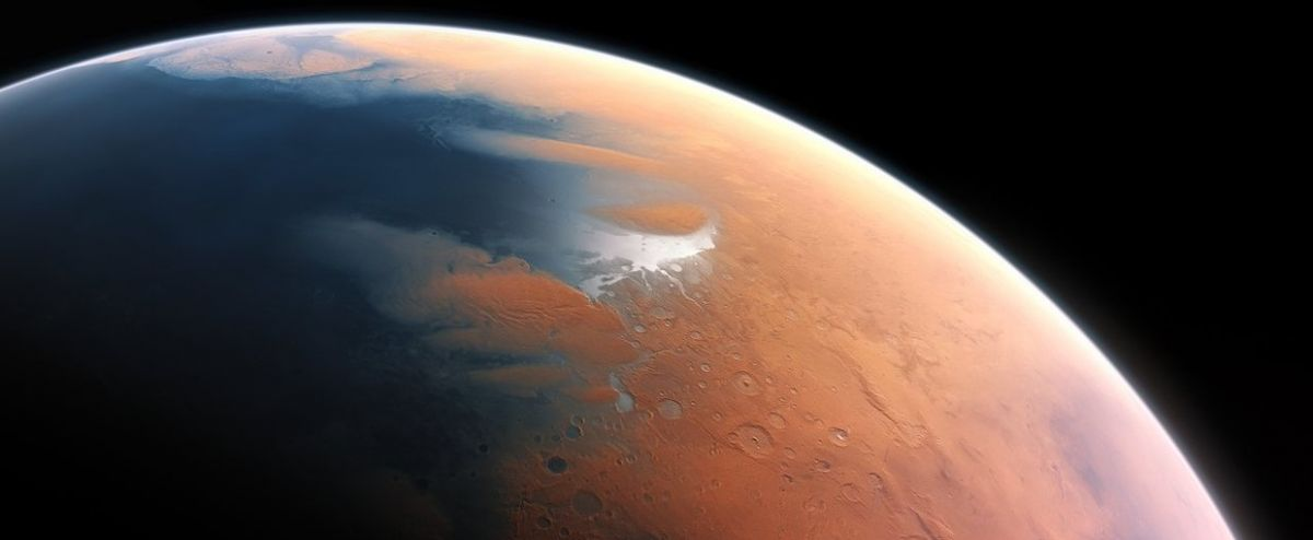 An artist's impression of a 'wet' Mars. Credits: ESO/M. Kornmesser