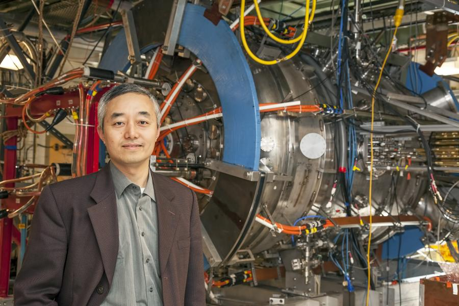 PPPL physicist Hantao Ji with the MRX. Photo Credit: Elle Starkman