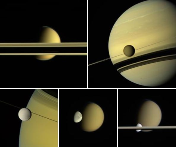 A montage of images from Cassini of various moons and the rings around Saturn. Credit: NASA/JPL-Caltech/Space Science Institute