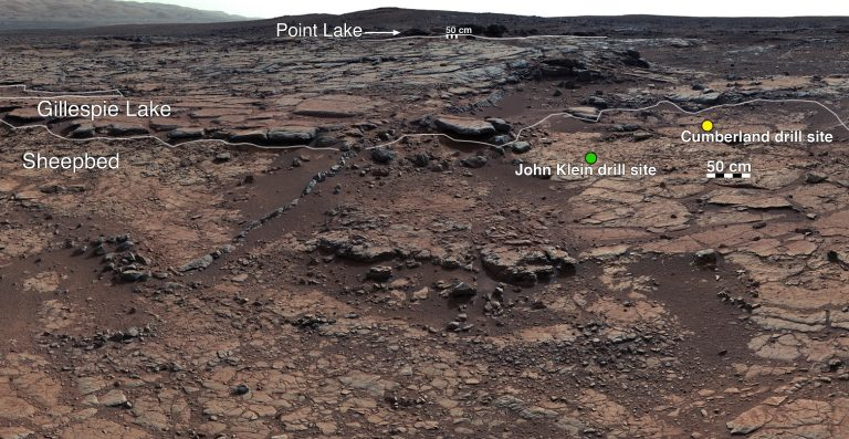 Annotated version of the bedrock site in the Gale Crater where the Curiosity rover has taken drill samples. Credit: NASA/JPL-Caltech/MSSS
