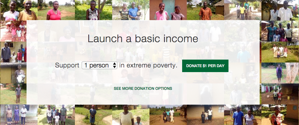 GiveDirectly wants you to fund its basic income program, too. Image credits: GiveDirectly, screenshot