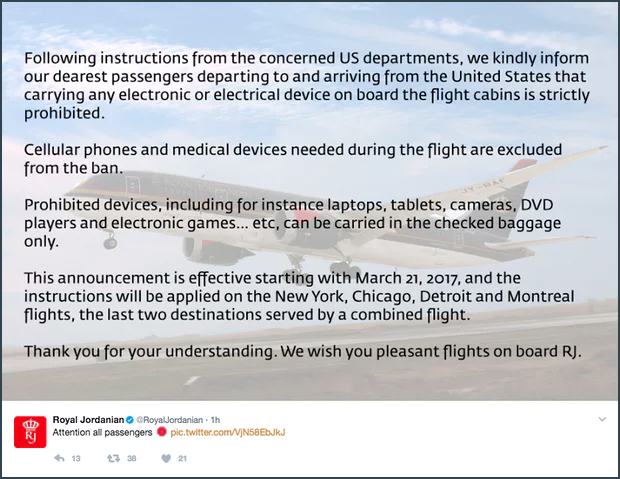 *5* The U.S. Bans Electronic Devices from Foreign Inbound Flights