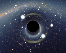 Simulated image of a black hole. Image Credit: Wikipedia