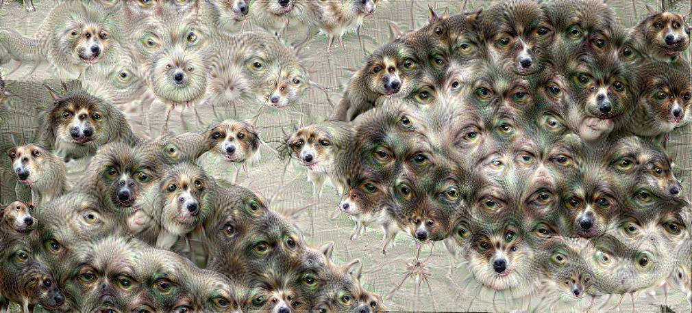 A Deep Dream Rendering of The Birth of Adam, where the A.I has been told to look for dogs and modify the picture where it finds them. Photo Credit: PROMario Klingemann, Flickr
