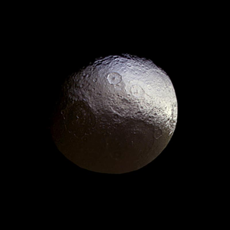 Iapetus with color. Image credit: NASA-JPL