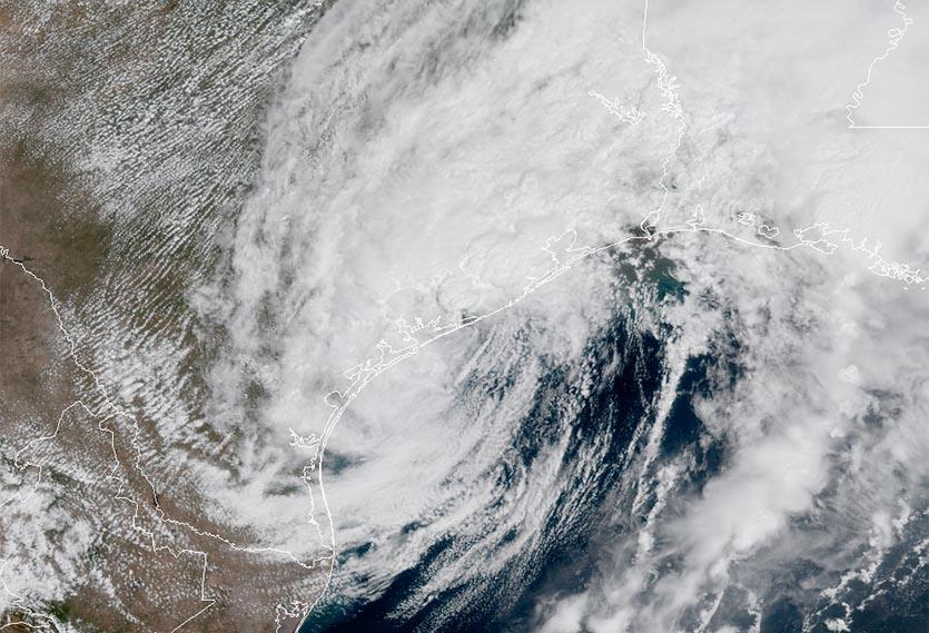 Hurricane Harvey, as it appears over Houston, Texas. (Image credit: NOAA/RAMMB)