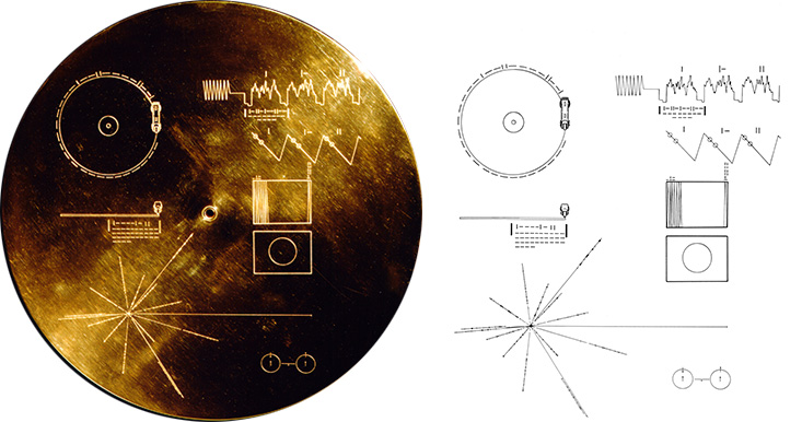 The Voyager Golden Record (Right), with the pulsar on the bottom left.