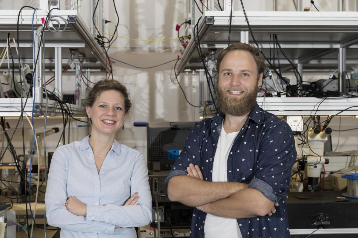 Dr Birgit Stiller (left) and Moritz Merklein (Right) in the University of Sydney's Nanoscience Hub. Image Credit: Louise Connor/University of Sydney