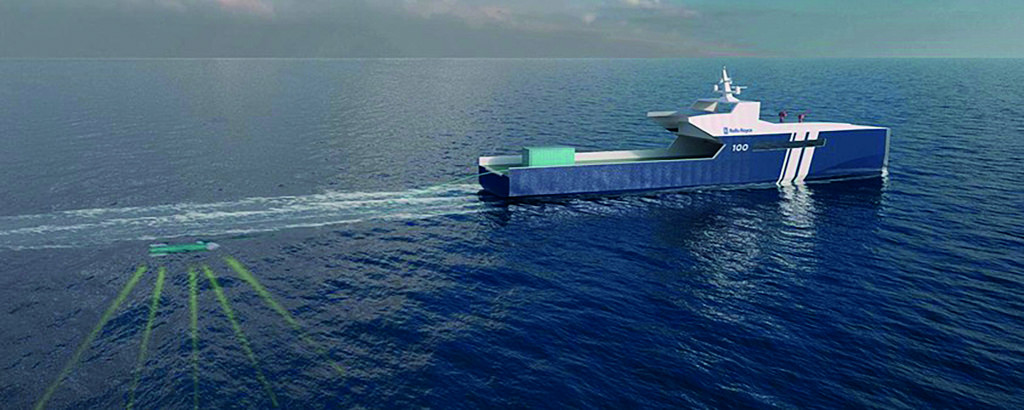 A concept of Rolls-Royce's autonomous ship detecting an object before switching to surveillance. Image Credit: Rolls-Royce