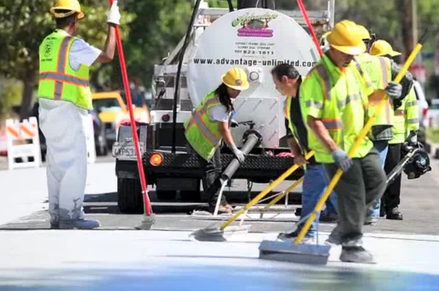 CoolSeal being applied to Canoga Park in Los Angeles. Image Credit: GuardTop