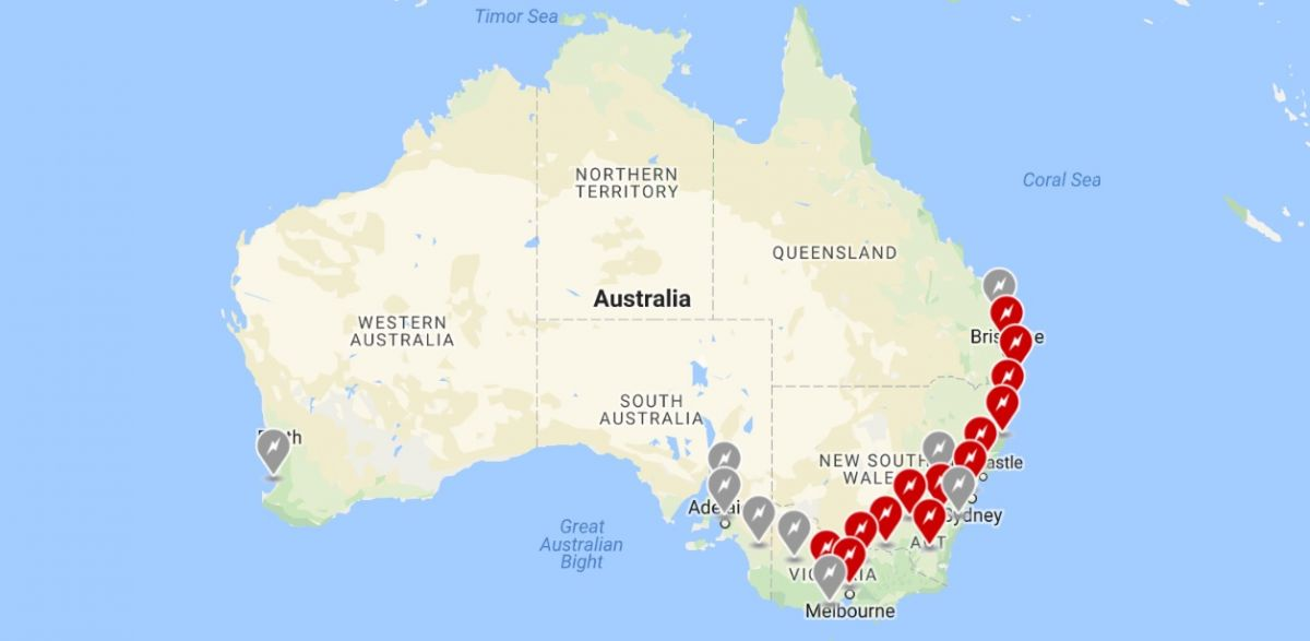 Tesla supercharger stations australia