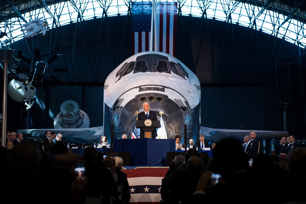 VP Mike Pence speaking at the first National Space Council meeting. Image Credit: NASA