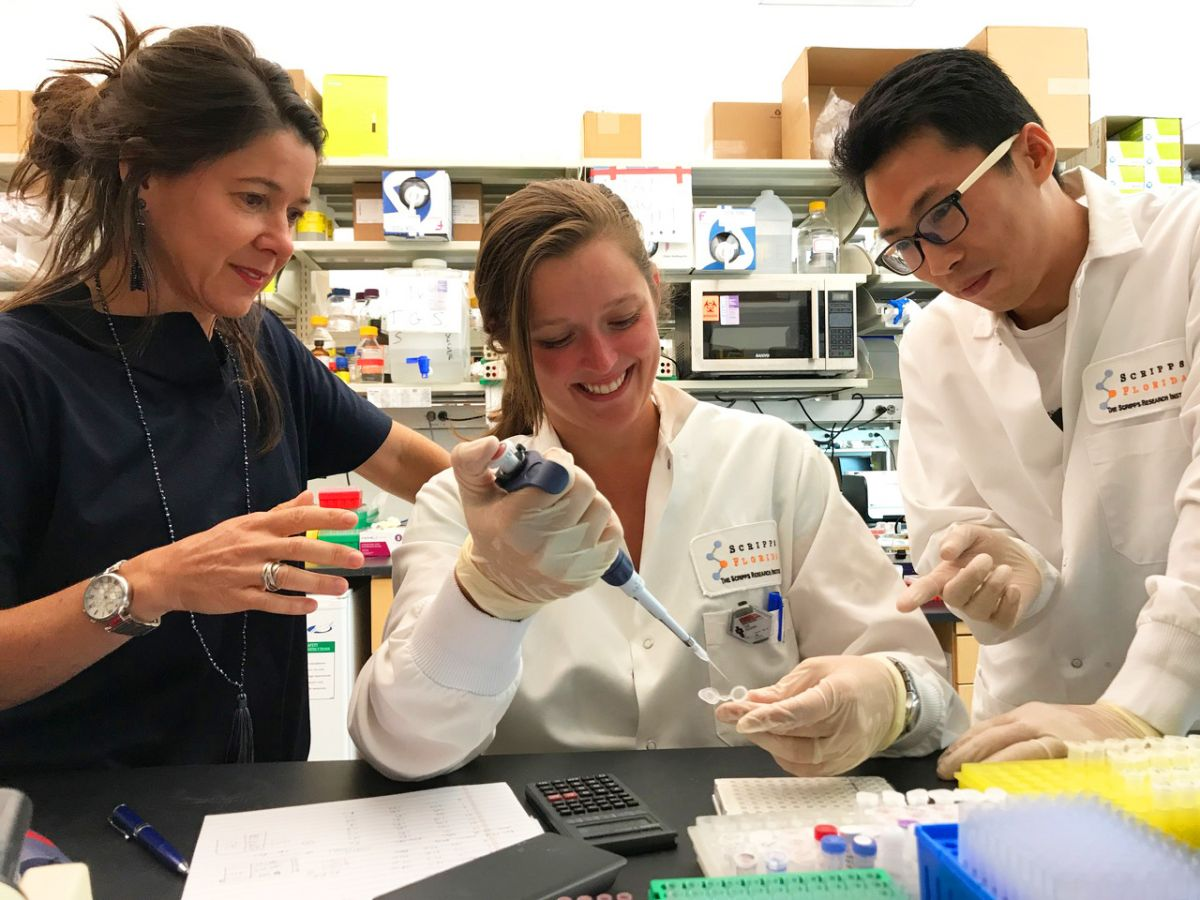 Authors of the recent study (From left to right): Susana Valente, Cari F. Kessing and Chuan Li. Image Credit: The Scripps Research Institute