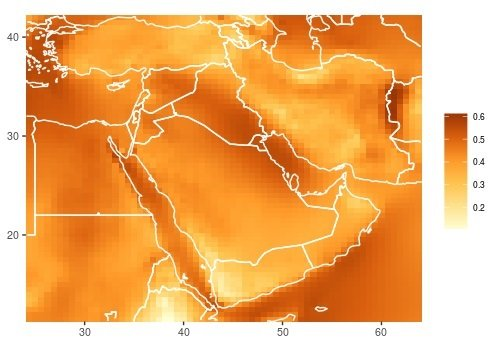 This color-coded map of the Middle East region shows areas with greatest high-altitude wind energy potential.