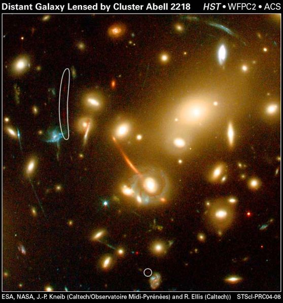 Gravitational lenses created by galaxies like this one, Abell Cluster 2218, can now be identified by an AI astronomer instead of manually by human eyes.