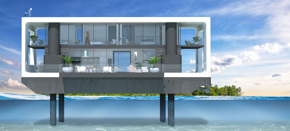 Concept image of the floating home with hydraulic legs. Image Credit: Arkup