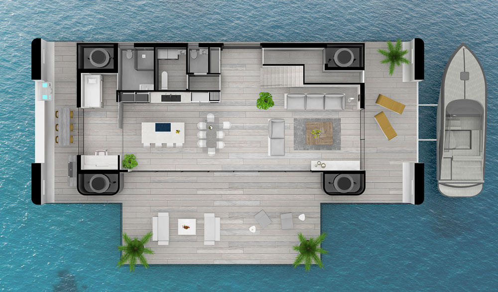 One possible layout of Arkup's floating homes. Image Credit: Arkup