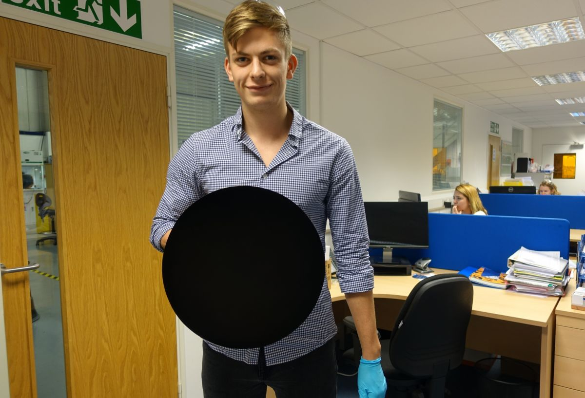 An coated in Vantablack appears 2-dimensional and is difficult to perceive. Image Credit: Surrey NanoSystems