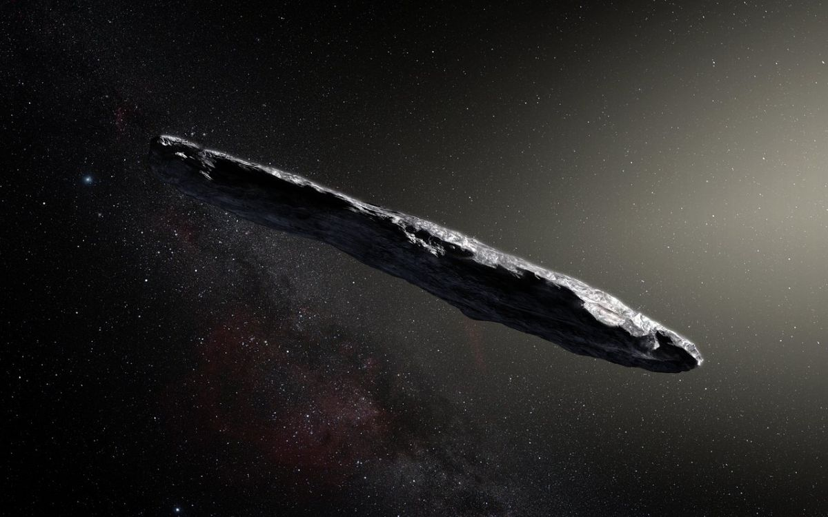 Artist's impression of the interstellar asteroid Oumuamua. Image Credit: European Southern Observatory