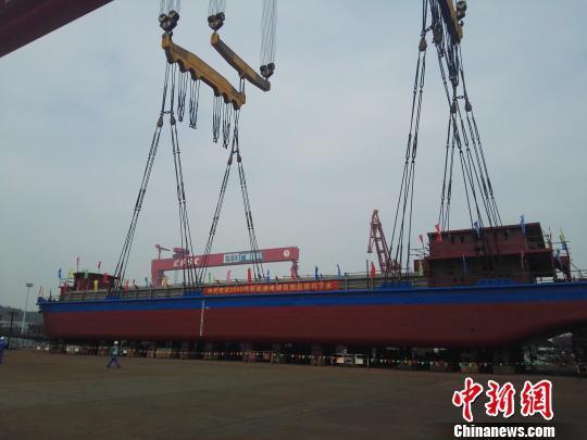 China's all-electric cargo ship. Image Credit: China News/Peng Yonggui