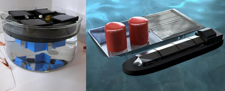 "The stand-alone PV-electrolyzer prototype floating in sulfuric acid, left, compared to a rendering of a hypothetical large-scale ""solar fuels rig"" producing hydrogen fuel on the open sea."