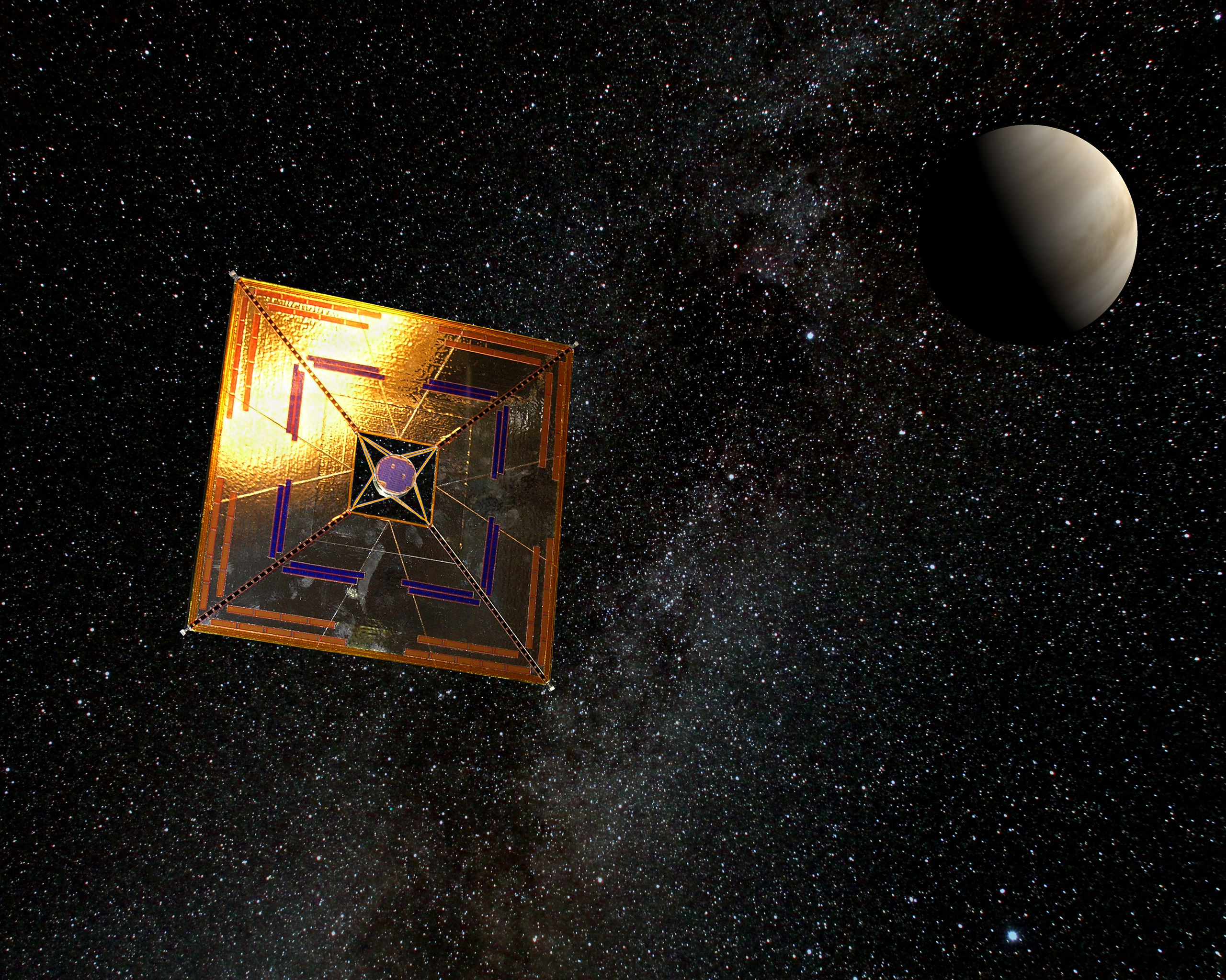 An artist's depiction of a space probe complete with a square, gold-foil solar sail, in front of a distant planet. NASA is planning one such exoplanet expedition to mark the centennial of Apollo 11.