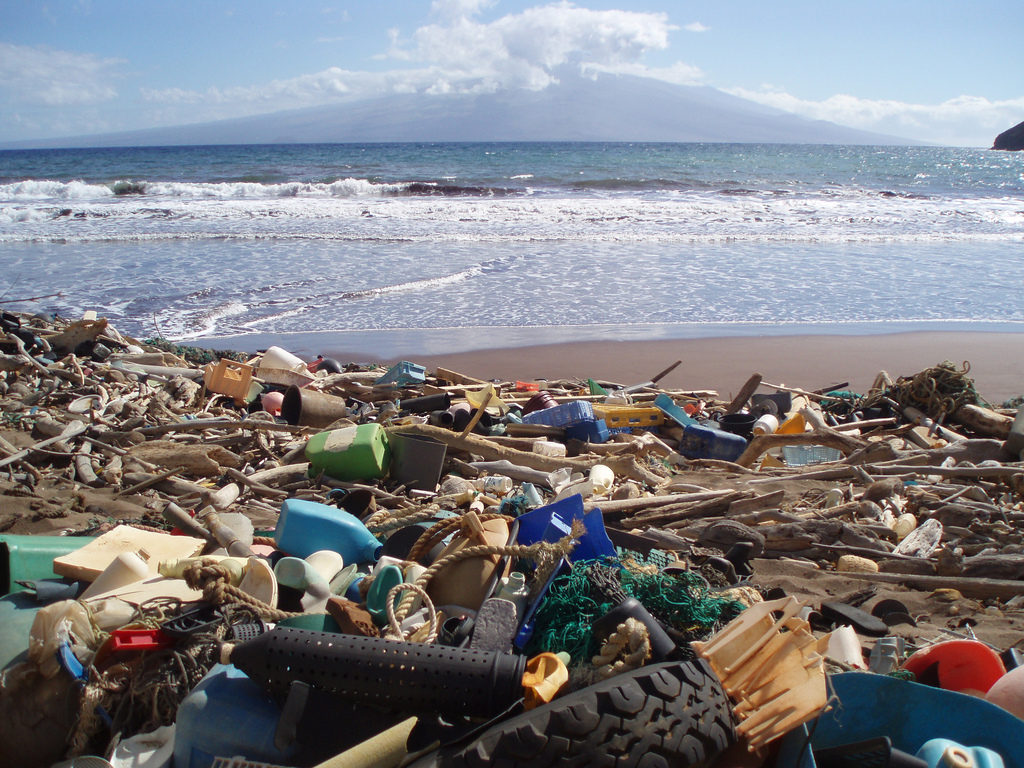 Plastic pollution accumulated on a beach in Kaho'olawe, Hawaii. China's plastic waste import ban could make such pollution worse.