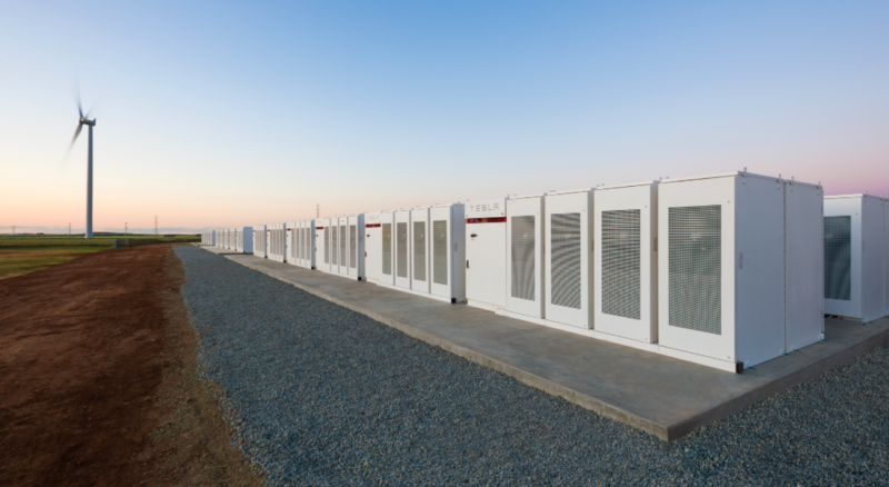 Tesla Powerpacks in South Australia, which make up about half of the new Australian mega-battery.