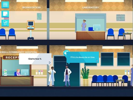 A still from the medical video game Night Shift, showing a doctor promising to arrive to work on time. Image Credit: Schell Games