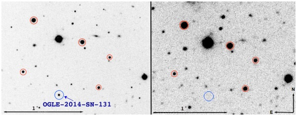 """OGLE-2014-SN-131 (blue circle) in a VLT acquisition (left), and an NTT image showing no visible host at the SN location (right)."" Image Credit: Karamehmetoglu et al."