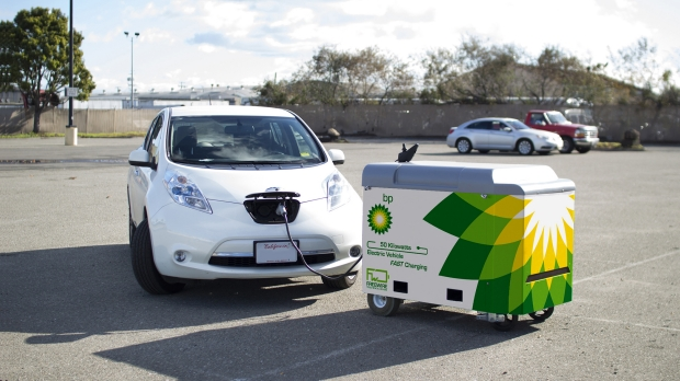 An EV being charged by a BP branded charging station. Image Credit: BP