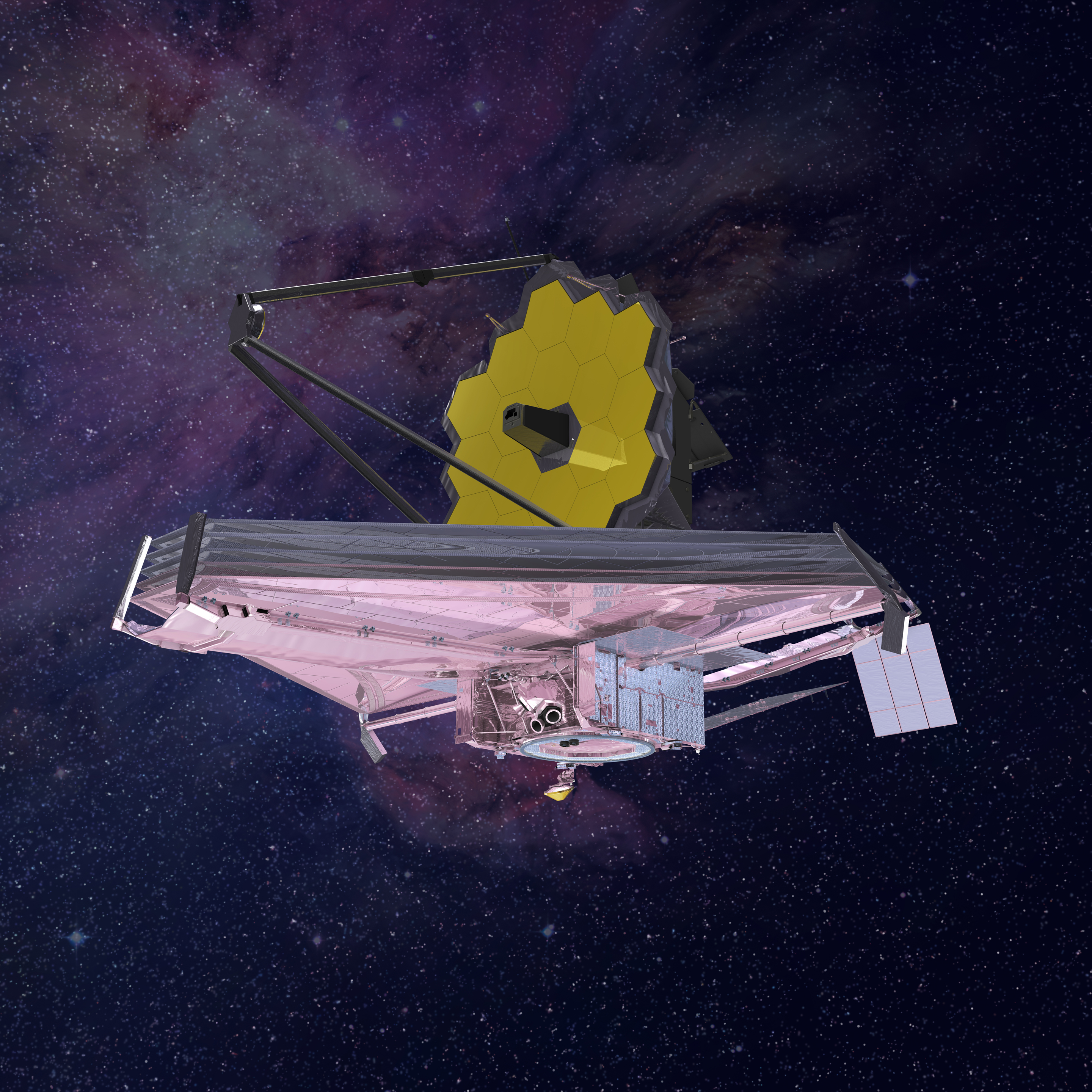 Artist conception of the James Webb Space Telescope observing the cosmos.