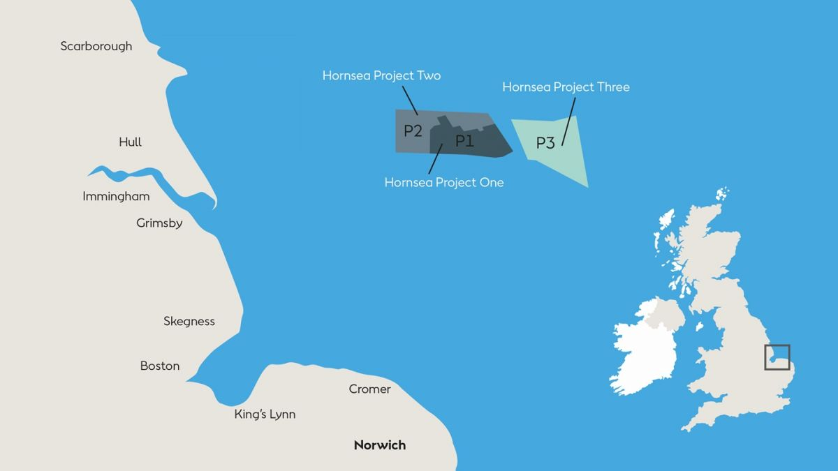 A conceptual map showing the location of Hornsea Projects One, Two, and Three. Image Credit: Orsted