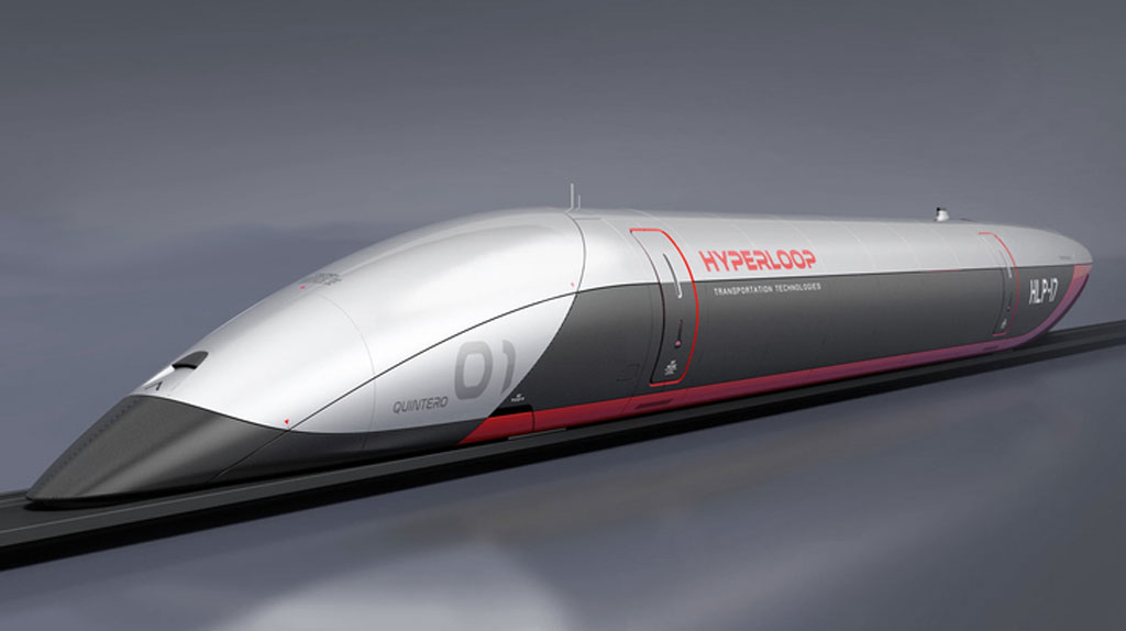 An artists representation of a hyperloop train, a streamlined bullet-shaped feature in color blocked silver and slate, with a red stripe. We may see the first hyperloop track announced in the coming year.