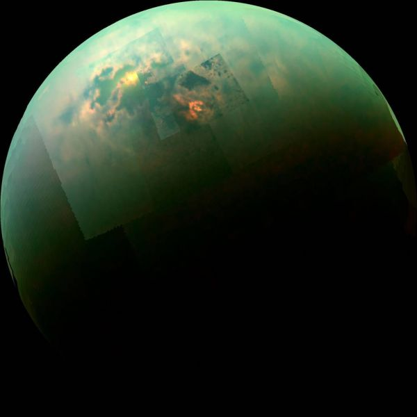 Cassini spots a methane sea on Titan. Image Credit: NASA