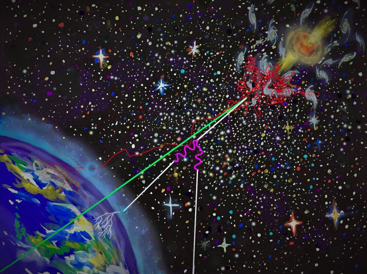 An artist's interpretation of cosmic messenger particles, being accelerated by jets from a supermassive black hole and entering earth's atmosphere.