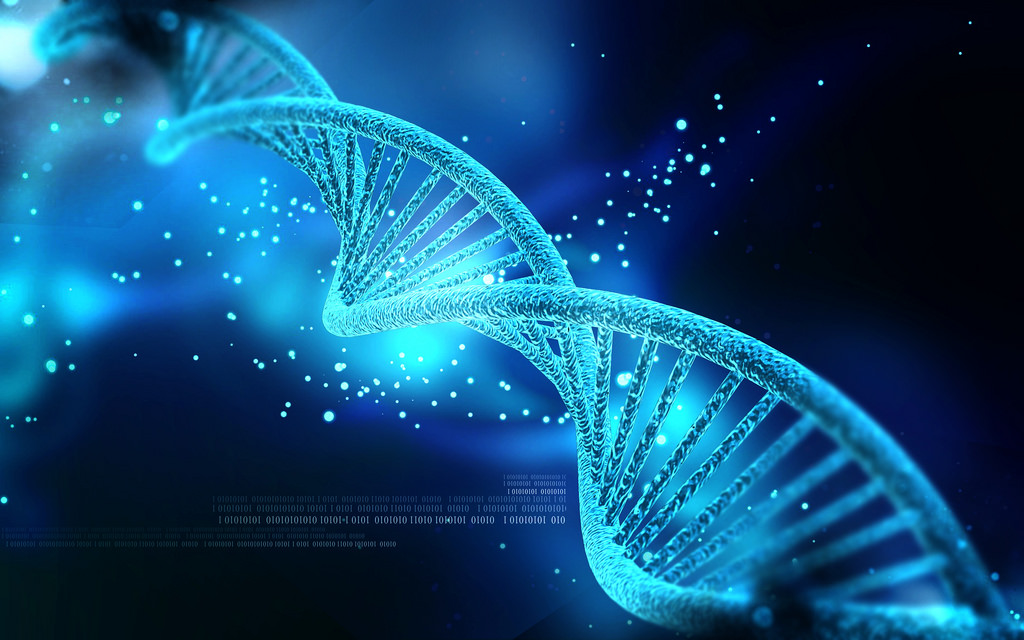 A graphic of a strand of DNA colored turquoise blue, on a blue and black background. A new fetal genetic test could bring an unborn fetus' DNA into such close focus.
