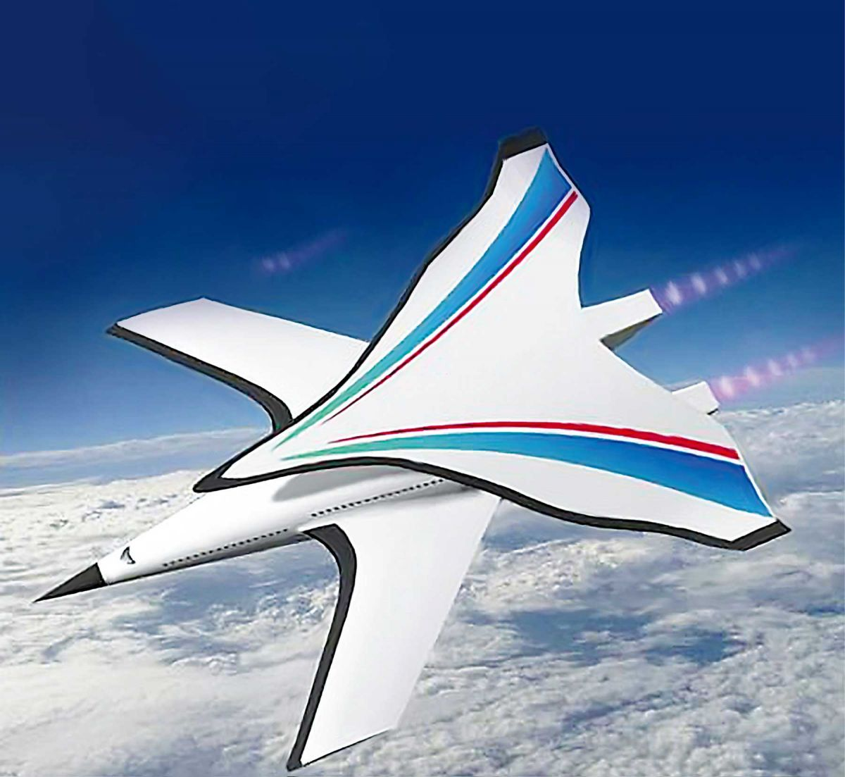 An artist's depection of the I Plane, a hypersonic plane being developed by China. It features a highly pointed nose with two sets of wings.