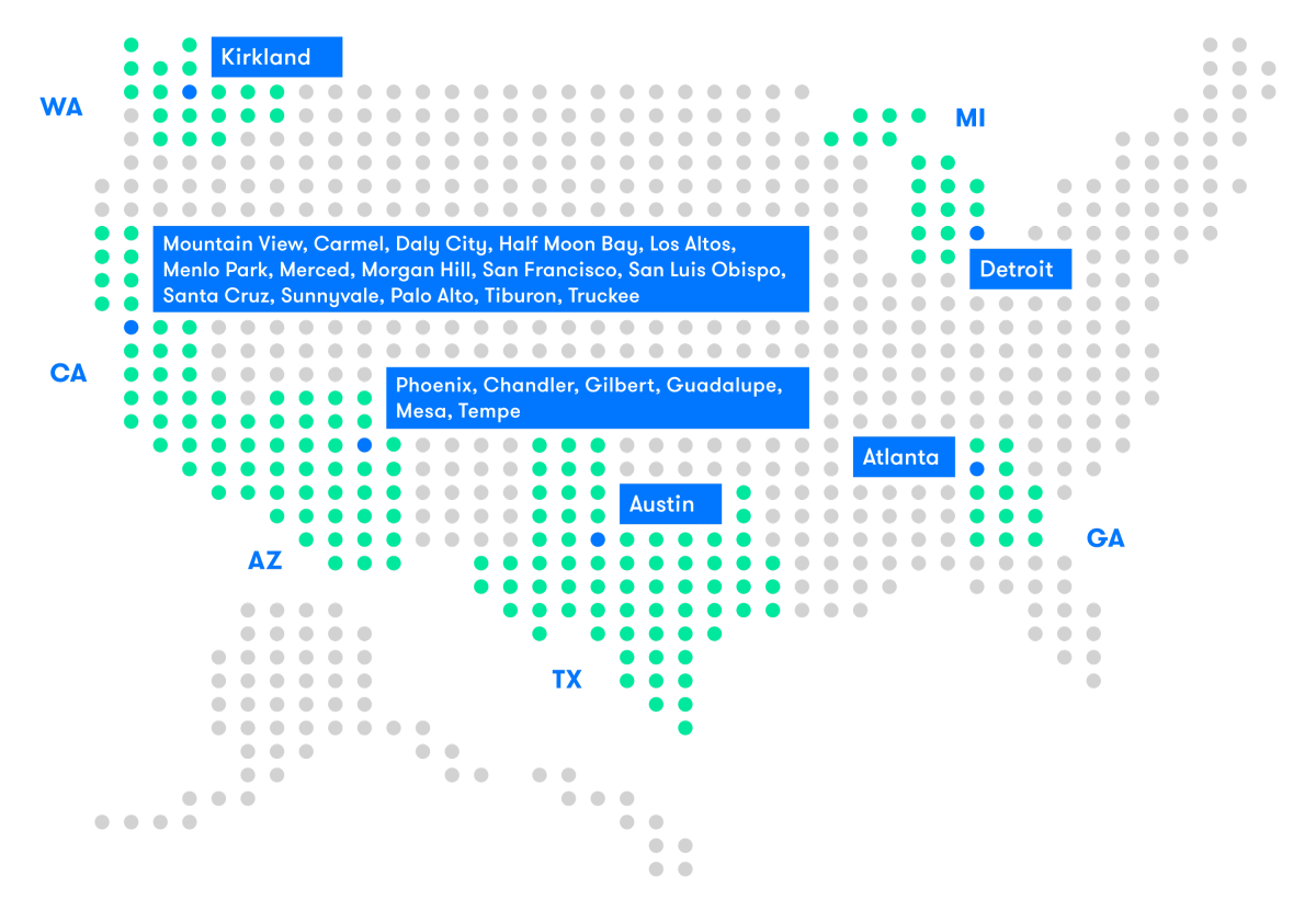 A map showing all the cities operating vehicles in the Waymo self-driving car fleet, including Kirkland WA, Detroit MI, Atlanta GA, Austin TX, and multiple cities in Arizona and California.