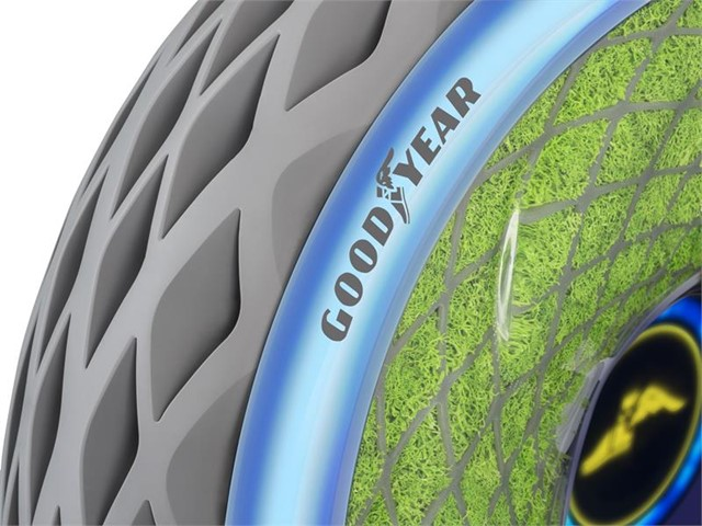 Close up image of Goodyear's Oxygene tire with blue light up strip. Image Credit: Goodyear