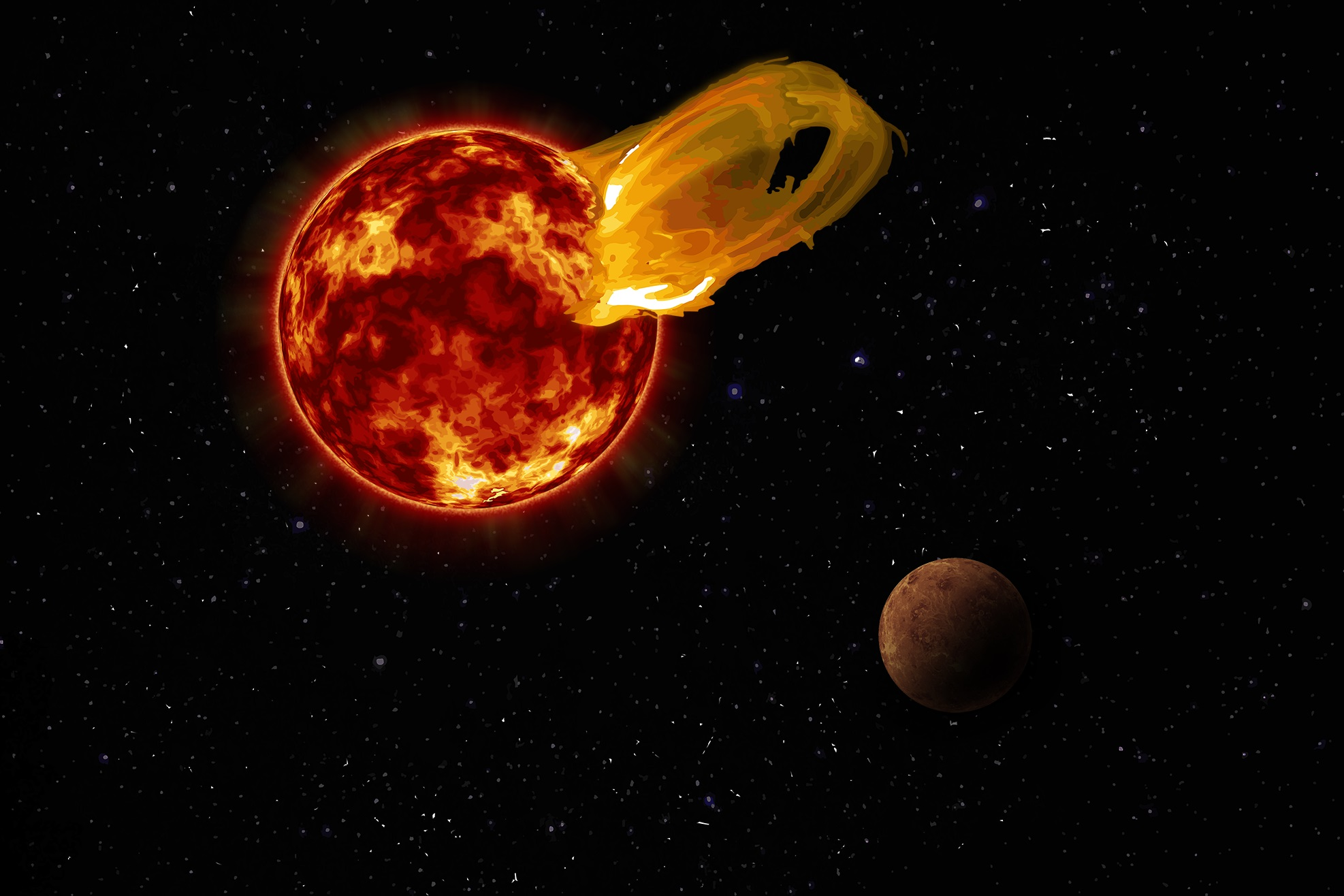 An artist's impression of a flare from Proxima Centauri, modeled after the loops of glowing hot gas seen in the largest solar flares, with the exoplanet Proxima b in the foreground. Image Credit: Roberto Molar Candanosa / Carnegie Institution for Science, NASA/SDO, NASA/JPL