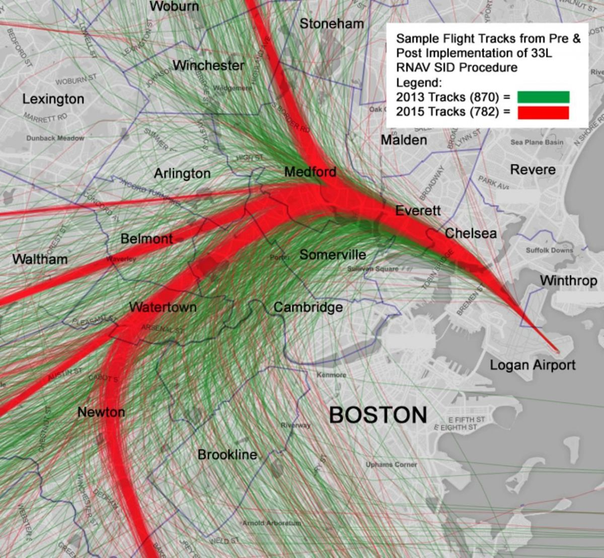 A community group mapped Boston Logan Airport flights departing to the northwest from 2013 (in green) and 2015 (in red), after the FAA began using new routes. Precision navigation concentrates planes over certain neighborhoods, creating new noise issues. (Data source: Massport) PHOTO: KENT JOHNSON