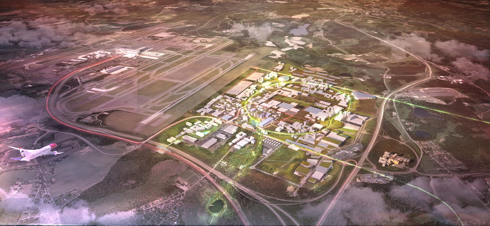 An aerial computer rendering of the OAC, set to be the most future-thinking and sustainable city in the world.