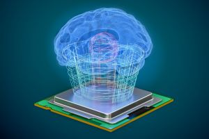 Artificial intelligence computer technology concept. Human brain with cpu processor, artificial intelligence concept. 3D rendering