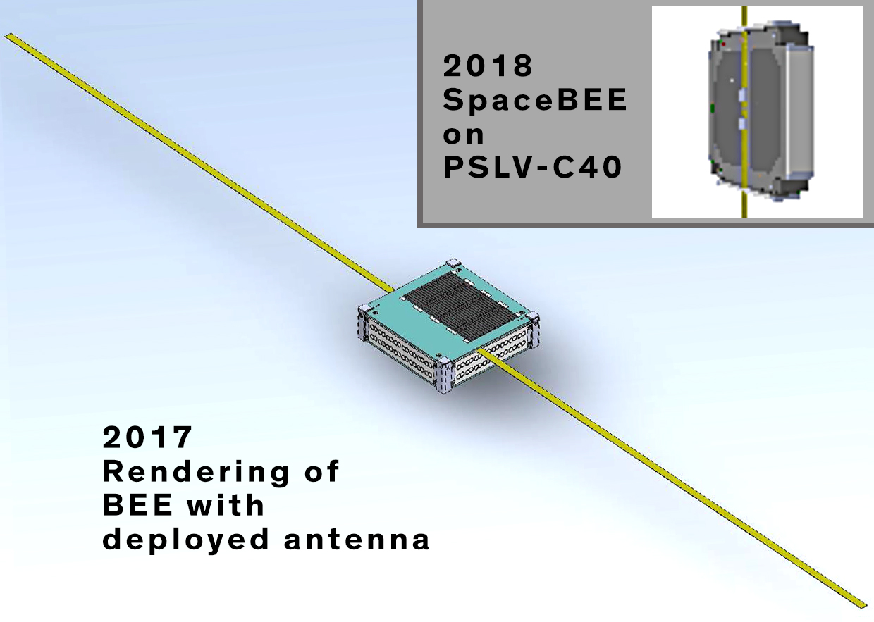 Rendering of the SpaceBEE, one of the small satellites the FCC has had trouble regulating; a blue box about the size of a slice of bread.