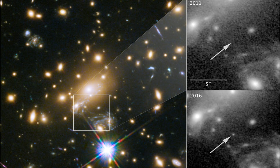 Images showing how astronomers spotted the most distant star imaged, which was not visible in 2011 but popped up in 2016 thanks to gravitational lensing.