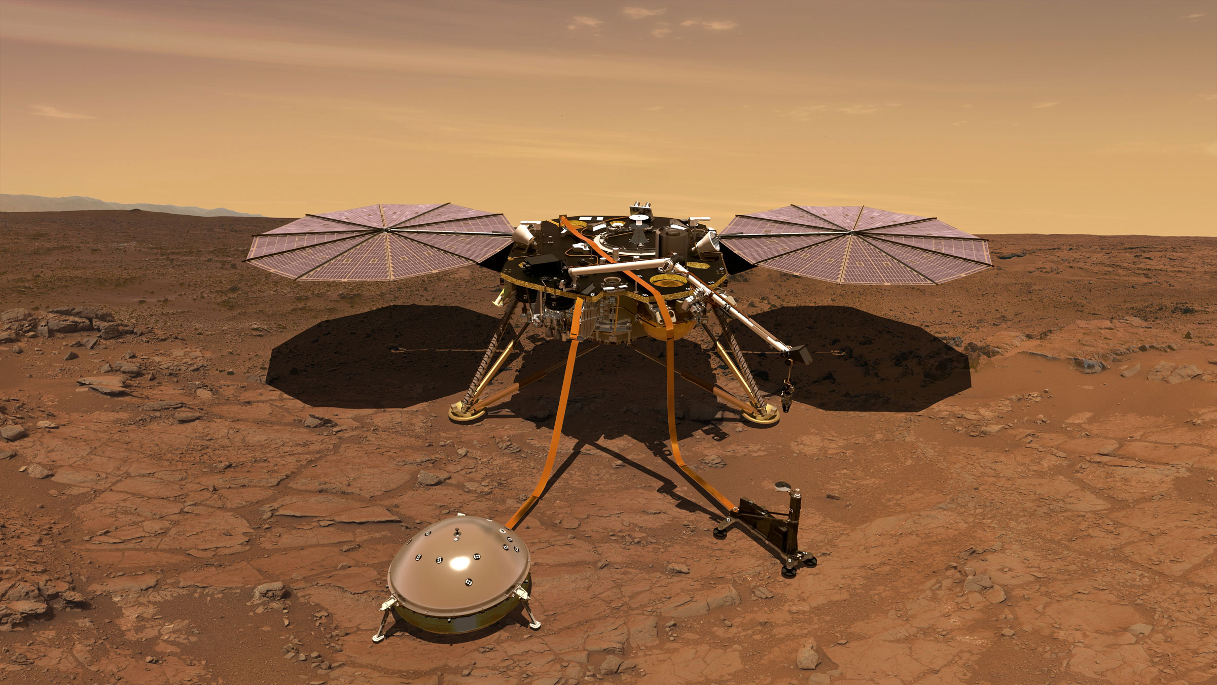 An artist's conception of the Insight Mars lander carrying out surface operations.